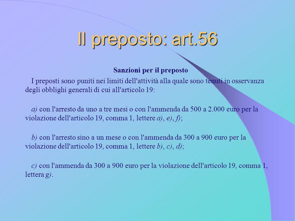 Il preposto: art.56 Sanzioni per il preposto I preposti sono puniti nei limiti dell'attività alla quale sono tenuti in osservanza degli obblighi gener