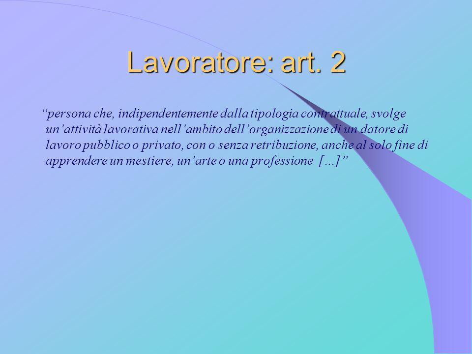 Lavoratore: art. 2 persona che, indipendentemente dalla tipologia contrattuale, svolge unattività lavorativa nellambito dellorganizzazione di un dator