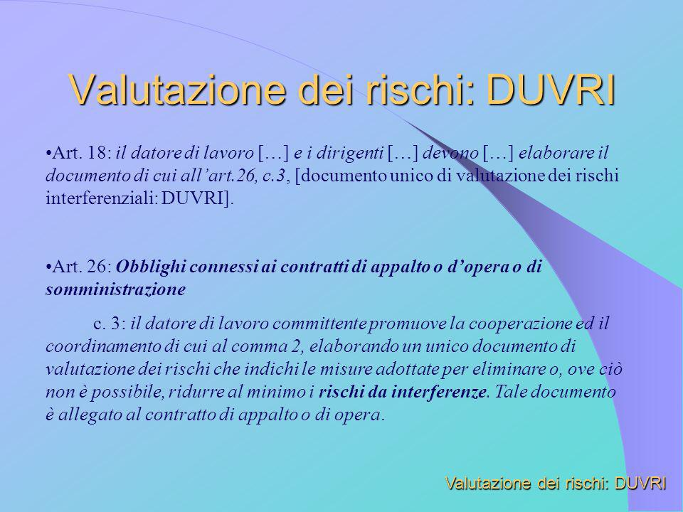 Valutazione dei rischi: DUVRI Art. 18: il datore di lavoro […] e i dirigenti […] devono […] elaborare il documento di cui allart.26, c.3, [documento u