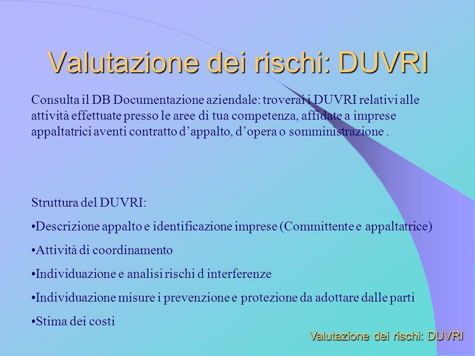 Consulta il DB Documentazione aziendale: troverai i DUVRI relativi alle attività effettuate presso le aree di tua competenza, affidate a imprese appal