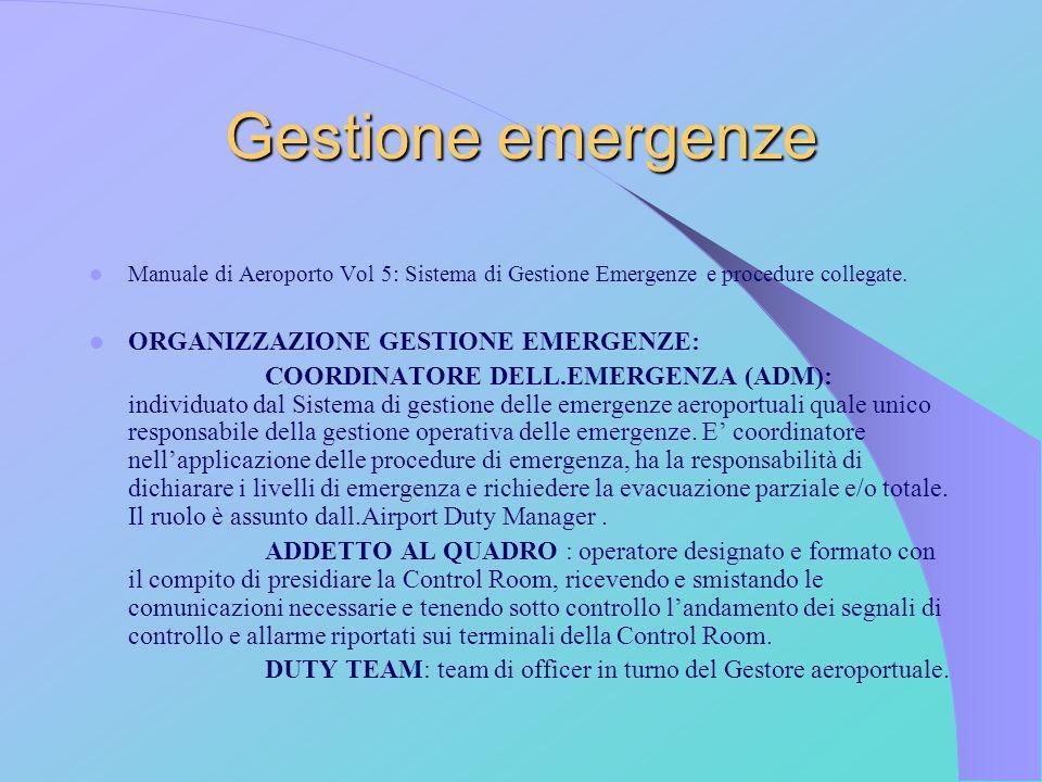 Gestione emergenze Manuale di Aeroporto Vol 5: Sistema di Gestione Emergenze e procedure collegate. ORGANIZZAZIONE GESTIONE EMERGENZE: COORDINATORE DE