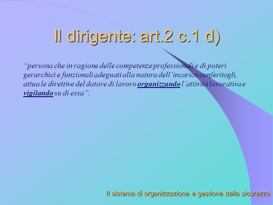 Il dirigente: art.2 c.1 d) persona che in ragione delle competenze professionali e di poteri gerarchici e funzionali adeguati alla natura dellincarico
