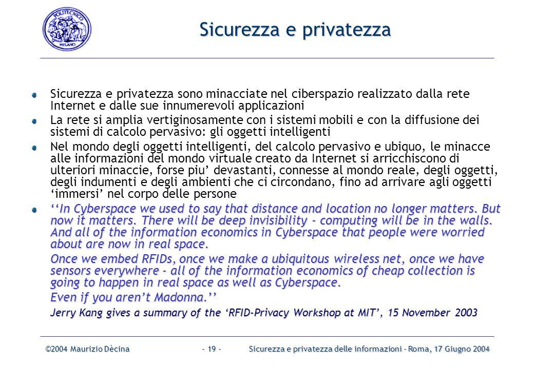 ©2004 Maurizio DècinaSicurezza e privatezza delle informazioni - Roma, 17 Giugno 2004- 18 - Problemi di privacy Furto di dati personaliTracciamento Malintenzionato Qualcosa di interessante.