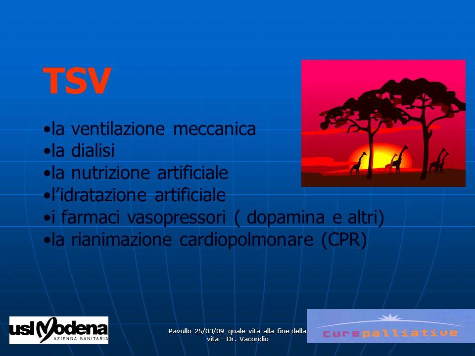 Pavullo 25/03/09 quale vita alla fine della vita - Dr. Vacondio TSV la ventilazione meccanica la dialisi la nutrizione artificiale lidratazione artifi