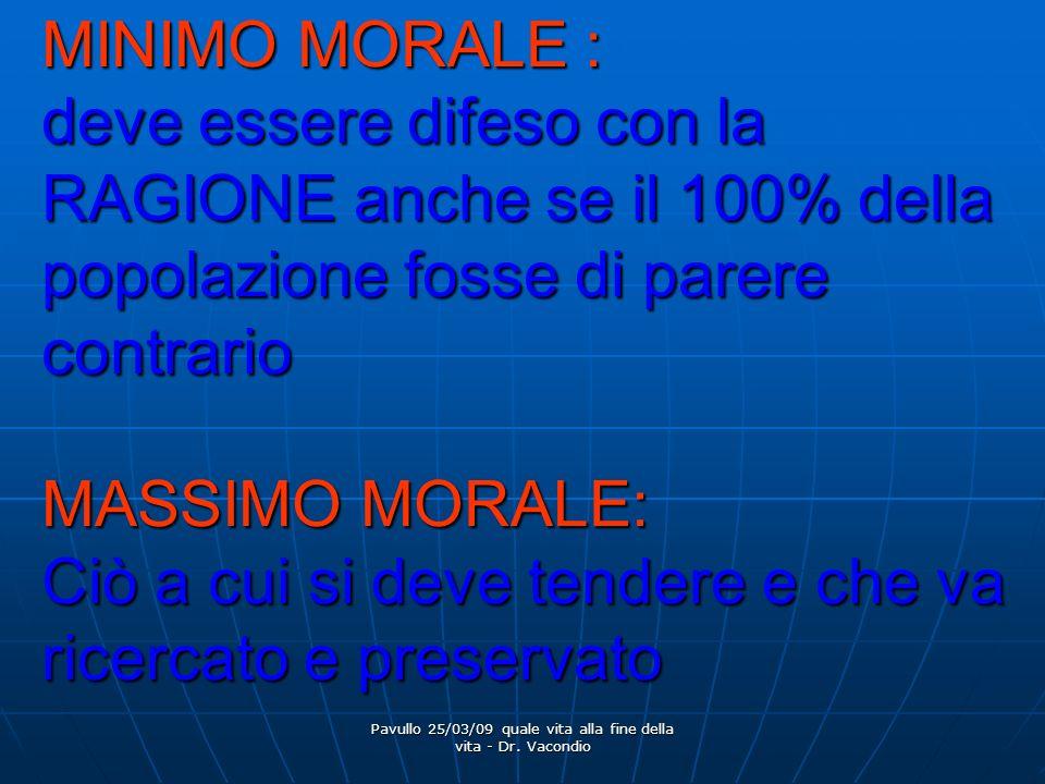Pavullo 25/03/09 quale vita alla fine della vita - Dr. Vacondio MINIMO MORALE : deve essere difeso con la RAGIONE anche se il 100% della popolazione f