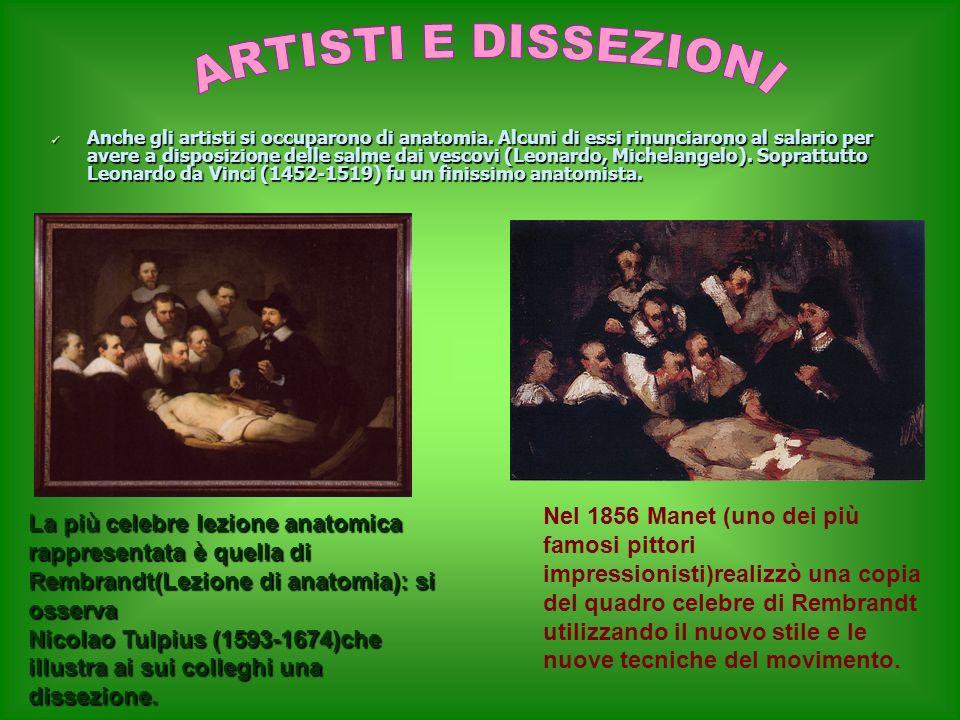 Anche gli artisti si occuparono di anatomia. Alcuni di essi rinunciarono al salario per avere a disposizione delle salme dai vescovi (Leonardo, Michel