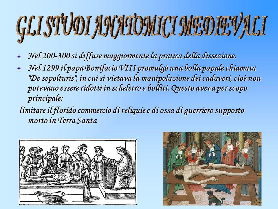 Nel 200-300 si diffuse maggiormente la pratica della dissezione. Nel 1299 il papa Bonifacio VIII promulgò una bolla papale chiamata