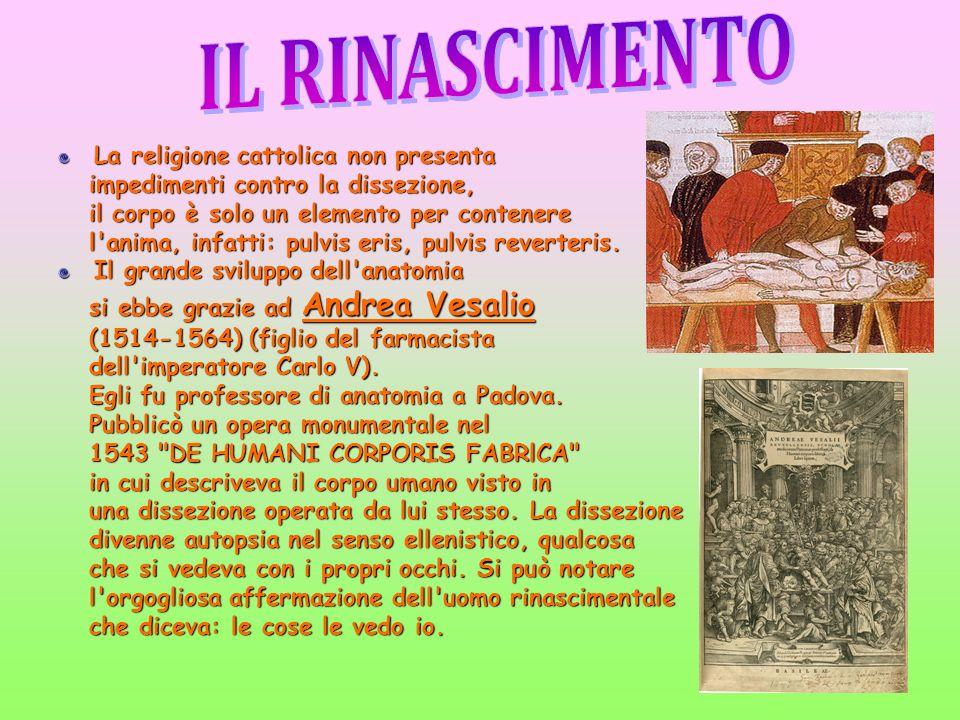 La religione cattolica non presenta impedimenti contro la dissezione, impedimenti contro la dissezione, il corpo è solo un elemento per contenere il c