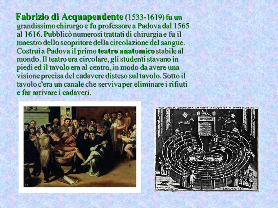 Fabrizio di Acquapendente (1533-1619) fu un grandissimo chirurgo e fu professore a Padova dal 1565 al 1616. Pubblicò numerosi trattati di chirurgia e