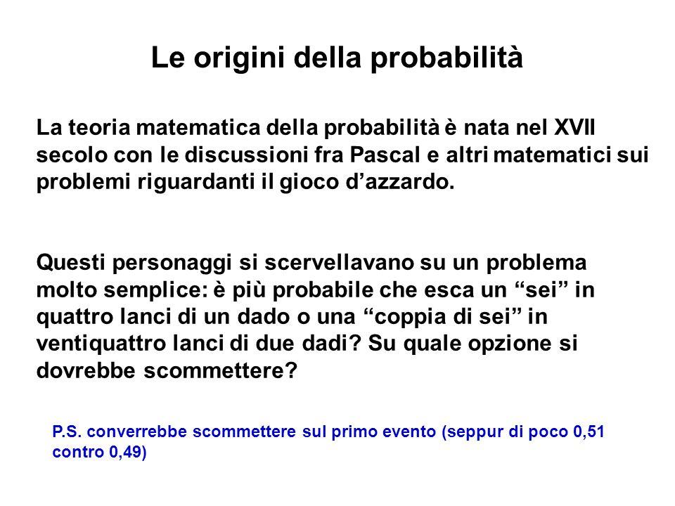 Le origini della probabilità La teoria matematica della probabilità è nata nel XVII secolo con le discussioni fra Pascal e altri matematici sui problemi riguardanti il gioco dazzardo.
