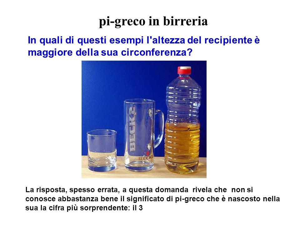 pi-greco in birreria In quali di questi esempi l altezza del recipiente è maggiore della sua circonferenza.