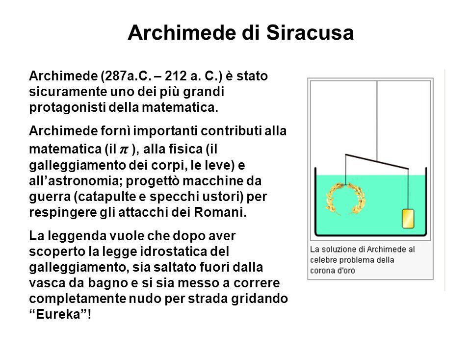 Archimede di Siracusa Archimede (287a.C.– 212 a.