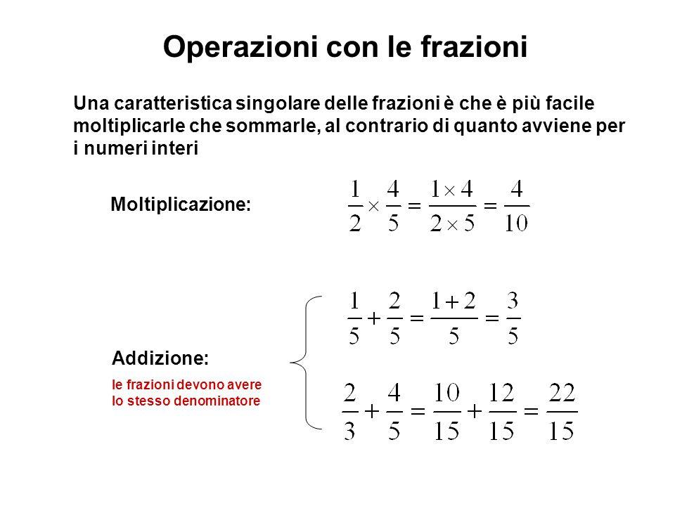 Una caratteristica singolare delle frazioni è che è più facile moltiplicarle che sommarle, al contrario di quanto avviene per i numeri interi Moltiplicazione: Addizione: le frazioni devono avere lo stesso denominatore Operazioni con le frazioni