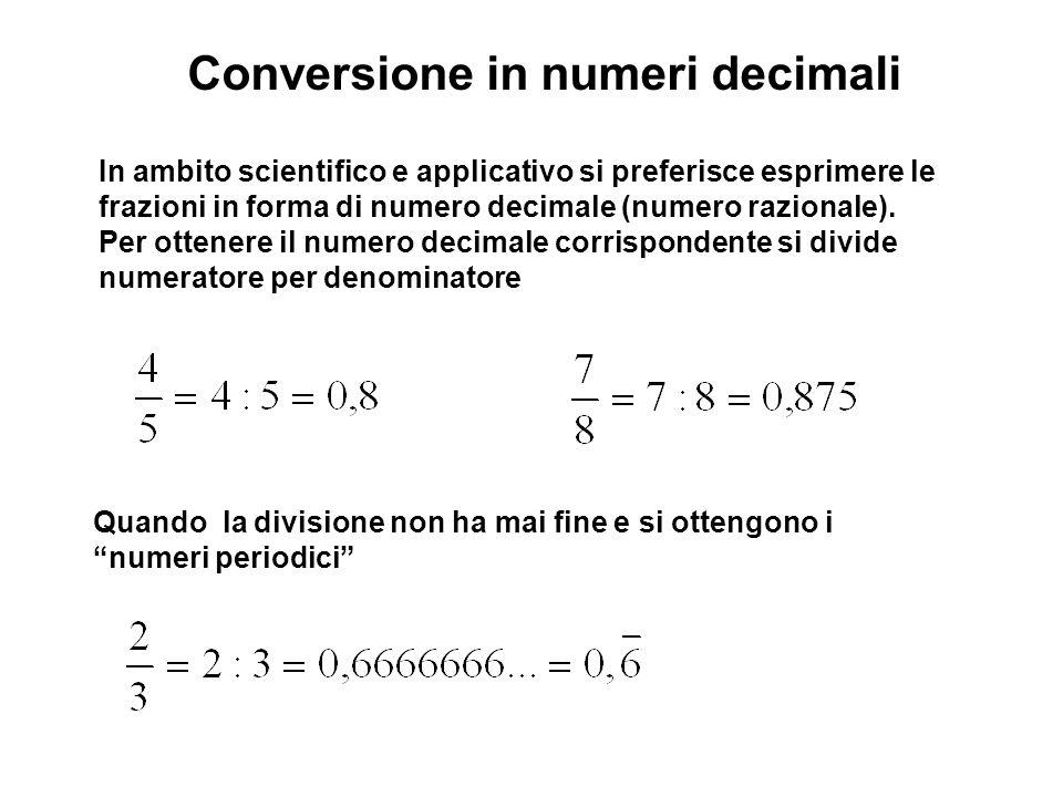 Conversione in numeri decimali In ambito scientifico e applicativo si preferisce esprimere le frazioni in forma di numero decimale (numero razionale).
