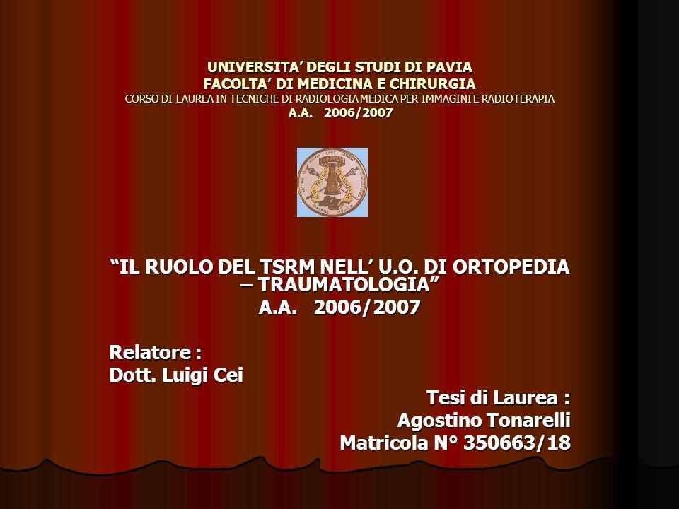 UNIVERSITA DEGLI STUDI DI PAVIA FACOLTA DI MEDICINA E CHIRURGIA CORSO DI LAUREA IN TECNICHE DI RADIOLOGIA MEDICA PER IMMAGINI E RADIOTERAPIA A.A. 2006