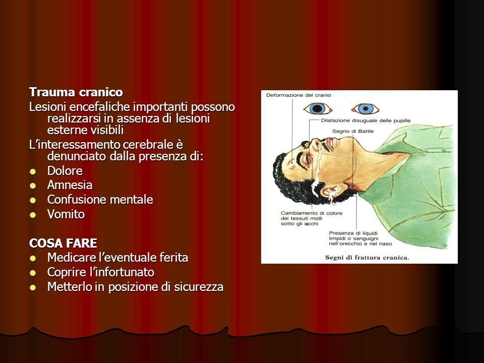 Trauma cranico Lesioni encefaliche importanti possono realizzarsi in assenza di lesioni esterne visibili Linteressamento cerebrale è denunciato dalla