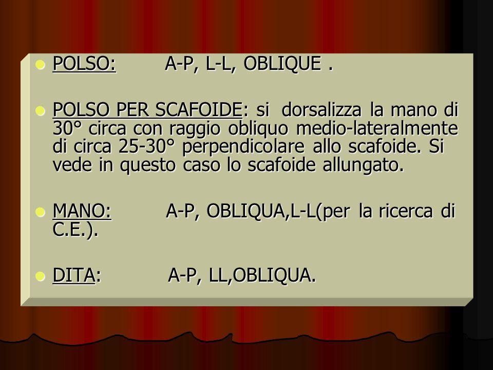 POLSO: A-P, L-L, OBLIQUE. POLSO: A-P, L-L, OBLIQUE. POLSO PER SCAFOIDE: si dorsalizza la mano di 30° circa con raggio obliquo medio-lateralmente di ci