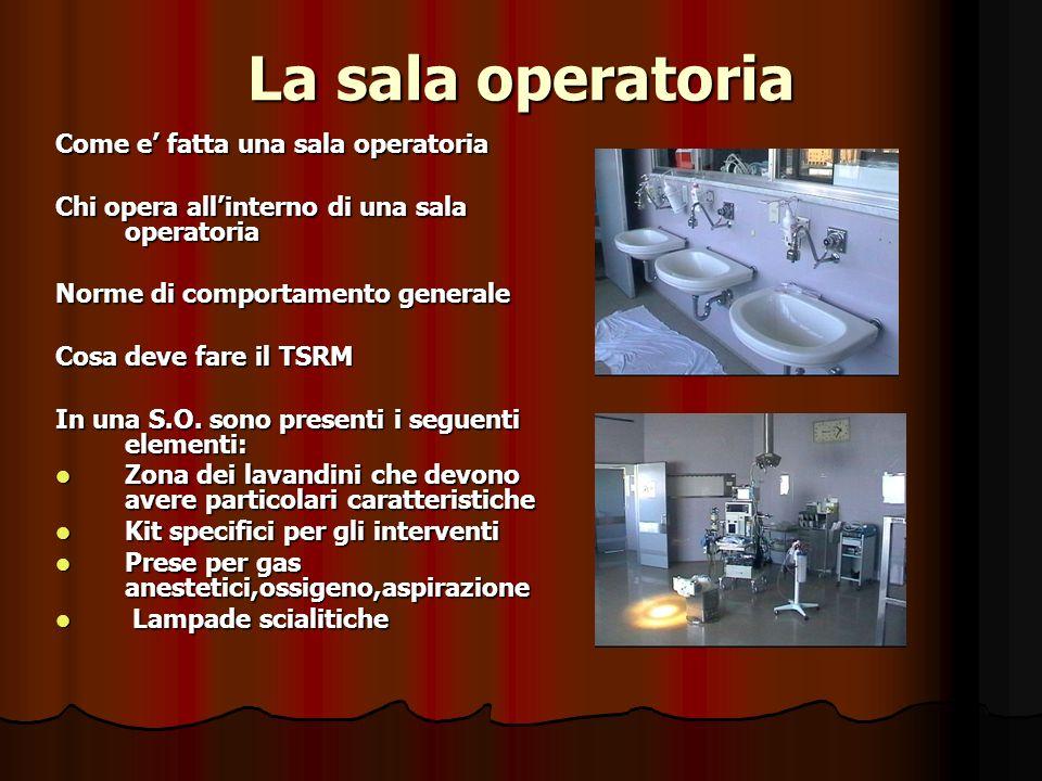 La sala operatoria Come e fatta una sala operatoria Chi opera allinterno di una sala operatoria Norme di comportamento generale Cosa deve fare il TSRM