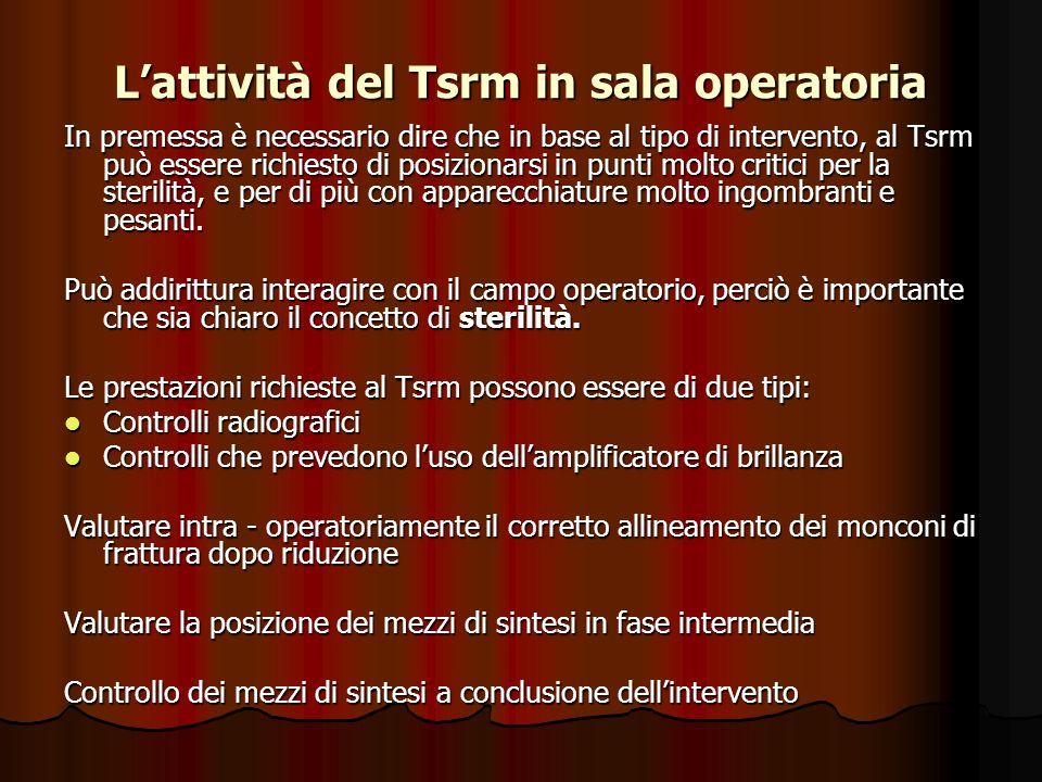 Lattività del Tsrm in sala operatoria In premessa è necessario dire che in base al tipo di intervento, al Tsrm può essere richiesto di posizionarsi in