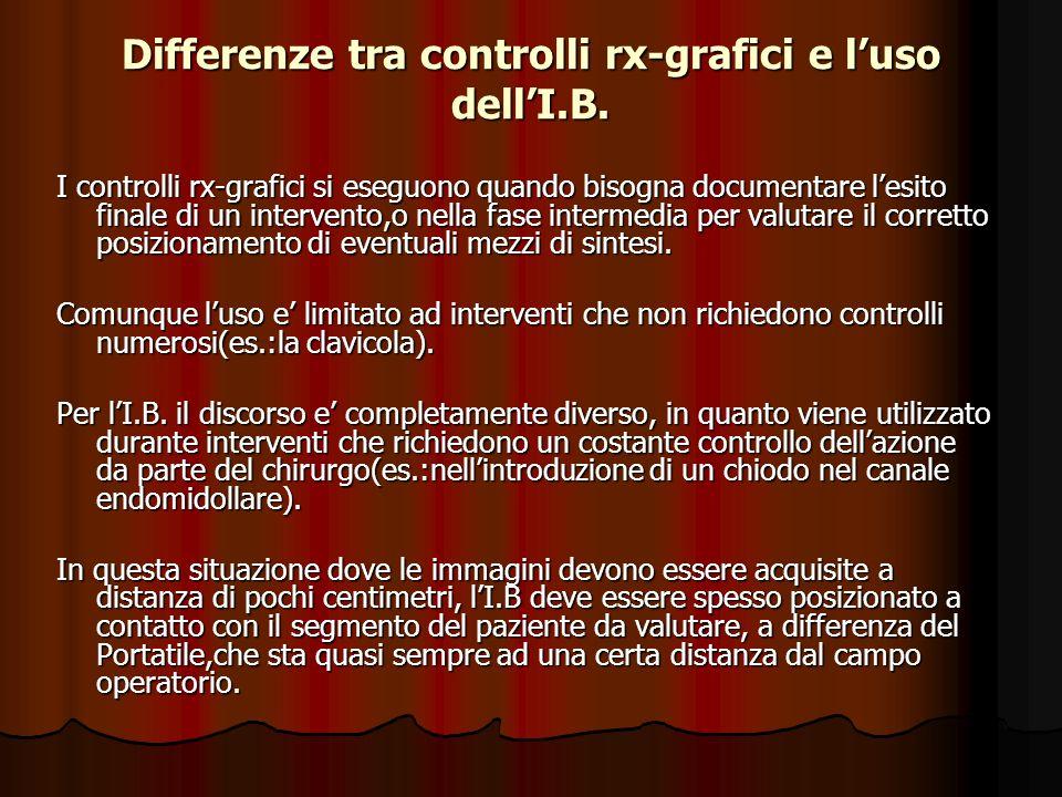 Differenze tra controlli rx-grafici e luso dellI.B. I controlli rx-grafici si eseguono quando bisogna documentare lesito finale di un intervento,o nel