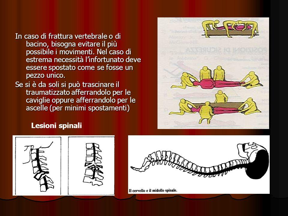 In caso di frattura vertebrale o di bacino, bisogna evitare il più possibile i movimenti. Nel caso di estrema necessità linfortunato deve essere spost