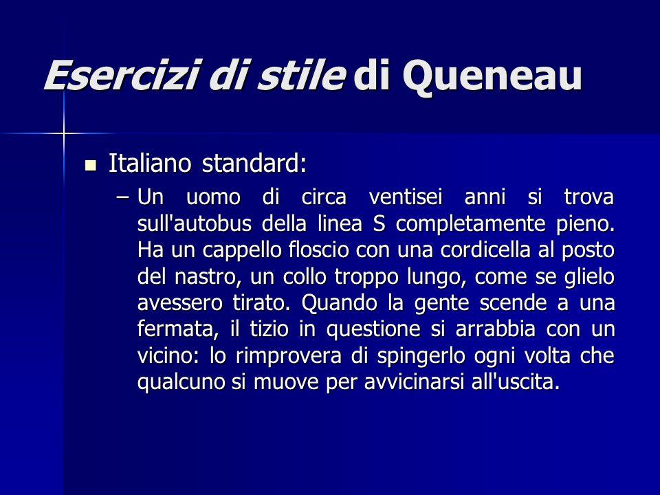Esercizi di stile di Queneau Italiano standard: Italiano standard: –Un uomo di circa ventisei anni si trova sull'autobus della linea S completamente p