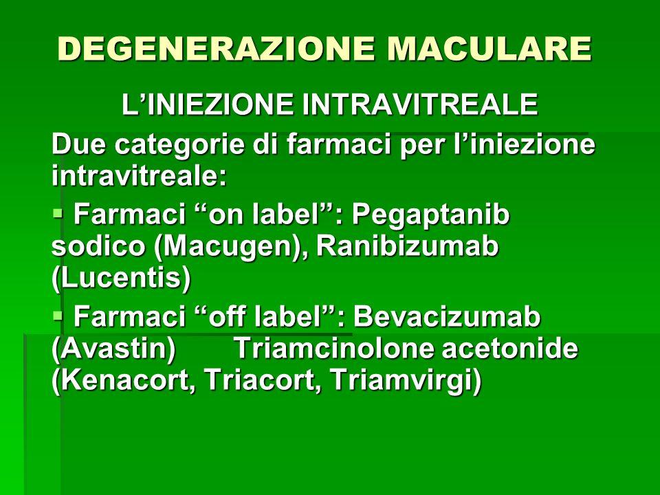 DEGENERAZIONE MACULARE LINIEZIONE INTRAVITREALE Due categorie di farmaci per liniezione intravitreale: Farmaci on label: Pegaptanib sodico (Macugen),