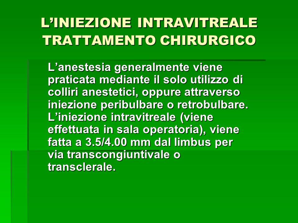 LINIEZIONE INTRAVITREALE TRATTAMENTO CHIRURGICO Lanestesia generalmente viene praticata mediante il solo utilizzo di colliri anestetici, oppure attrav