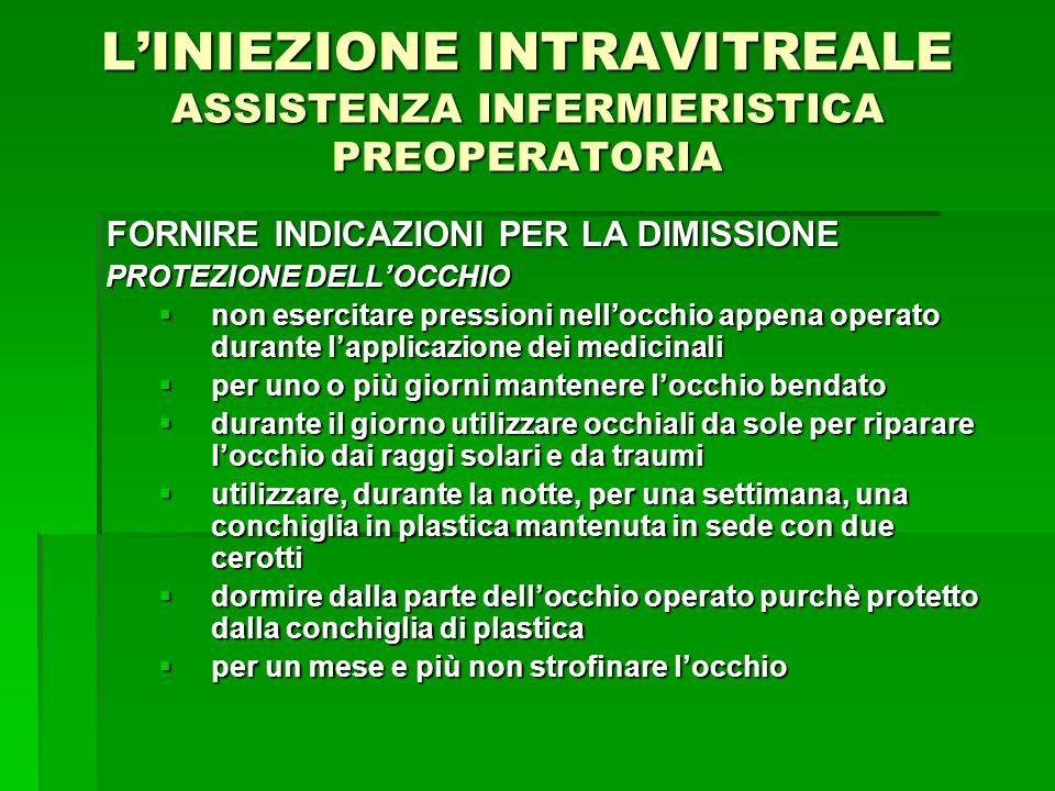 LINIEZIONE INTRAVITREALE ASSISTENZA INFERMIERISTICA PREOPERATORIA FORNIRE INDICAZIONI PER LA DIMISSIONE PROTEZIONE DELLOCCHIO non esercitare pressioni