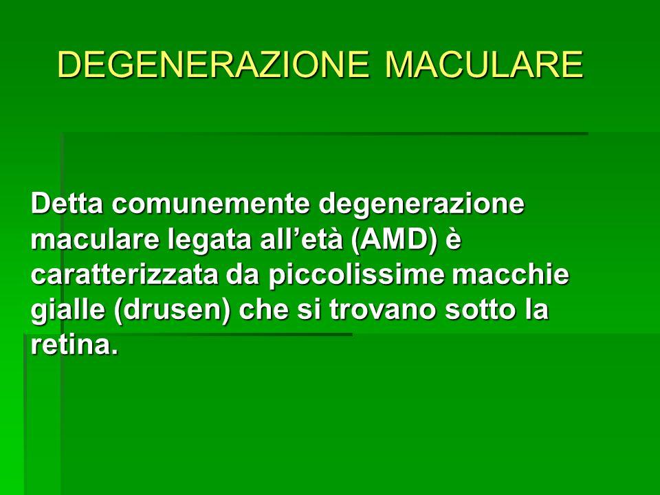 DEGENERAZIONE MACULARE LINIEZIONE INTRAVITREALE Due categorie di farmaci per liniezione intravitreale: Farmaci on label: Pegaptanib sodico (Macugen), Ranibizumab (Lucentis) Farmaci on label: Pegaptanib sodico (Macugen), Ranibizumab (Lucentis) Farmaci off label: Bevacizumab (Avastin) Triamcinolone acetonide (Kenacort, Triacort, Triamvirgi) Farmaci off label: Bevacizumab (Avastin) Triamcinolone acetonide (Kenacort, Triacort, Triamvirgi)