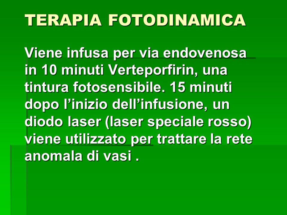 TERAPIA FOTODINAMICA Viene infusa per via endovenosa in 10 minuti Verteporfirin, una tintura fotosensibile. 15 minuti dopo linizio dellinfusione, un d