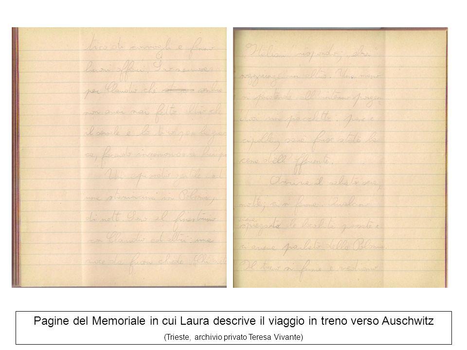 Pagine del Memoriale in cui Laura descrive il viaggio in treno verso Auschwitz (Trieste, archivio privato Teresa Vivante)