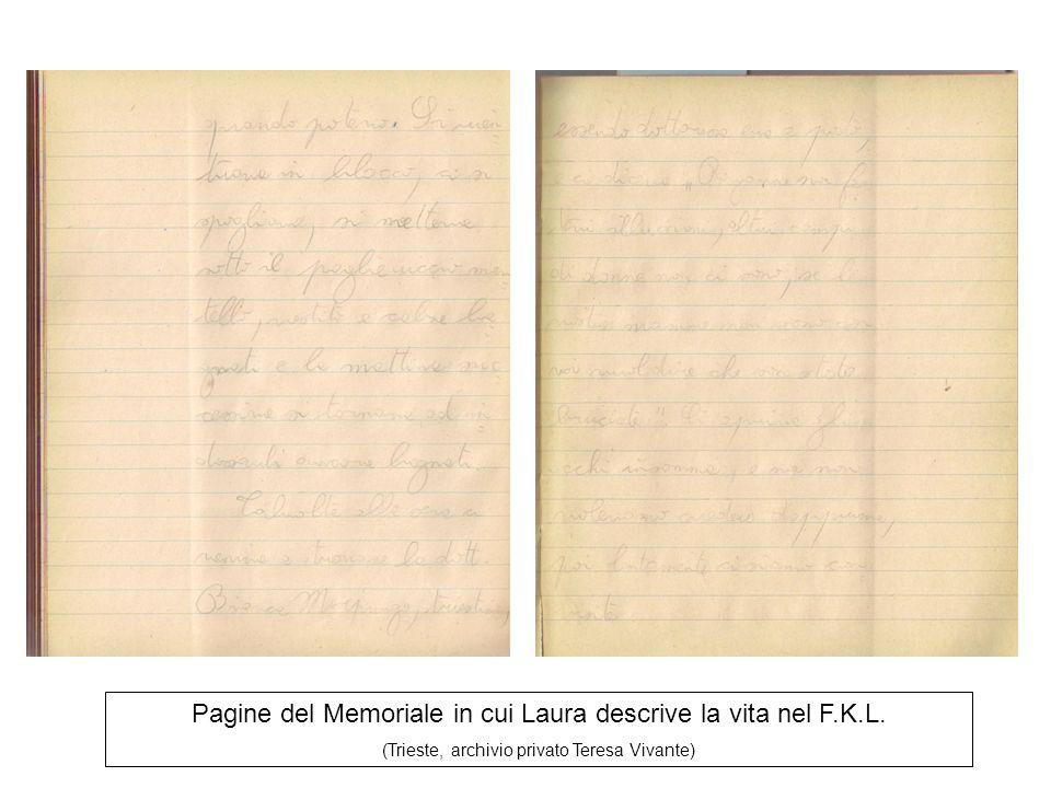 Pagine del Memoriale in cui Laura descrive la vita nel F.K.L. (Trieste, archivio privato Teresa Vivante)