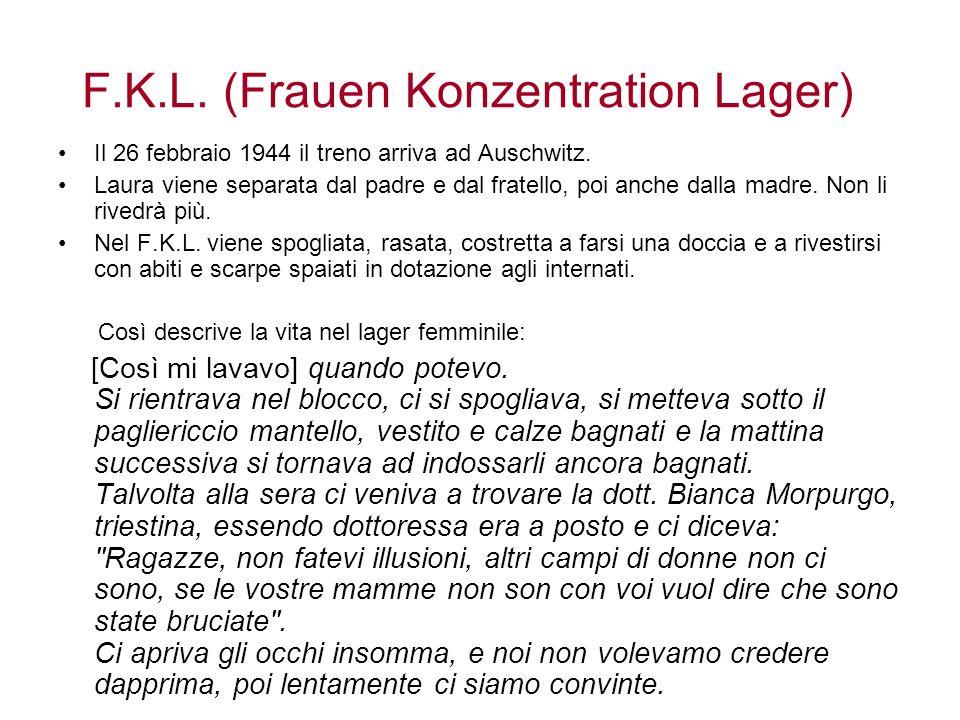F.K.L. (Frauen Konzentration Lager) Il 26 febbraio 1944 il treno arriva ad Auschwitz. Laura viene separata dal padre e dal fratello, poi anche dalla m