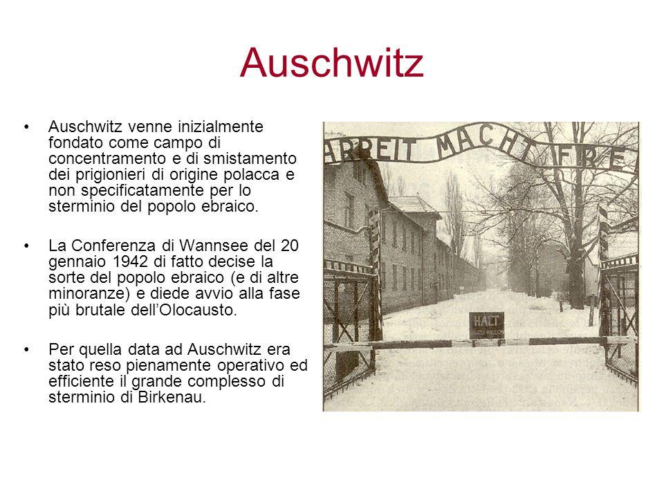 Auschwitz Auschwitz venne inizialmente fondato come campo di concentramento e di smistamento dei prigionieri di origine polacca e non specificatamente