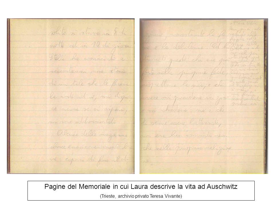 Pagine del Memoriale in cui Laura descrive la vita ad Auschwitz (Trieste, archivio privato Teresa Vivante)