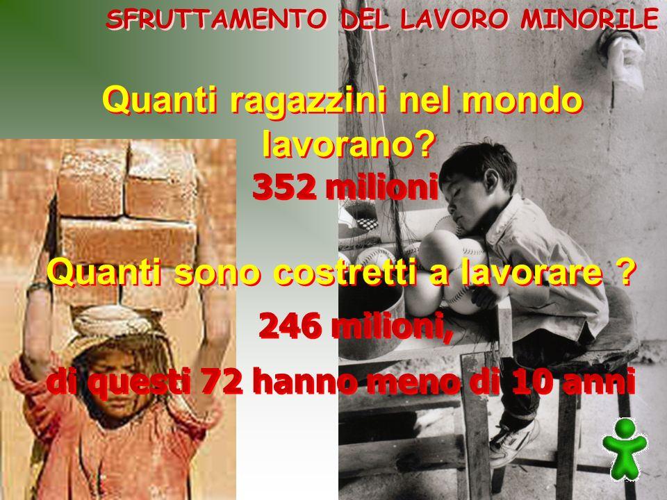 di questi 72 hanno meno di 10 anni SFRUTTAMENTO DEL LAVORO MINORILE Quanti ragazzini nel mondo lavorano? Quanti ragazzini nel mondo lavorano? Quanti s