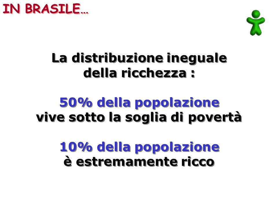 La distribuzione ineguale della ricchezza : 50% della popolazione vive sotto la soglia di povertà 10% della popolazione è estremamente ricco La distri