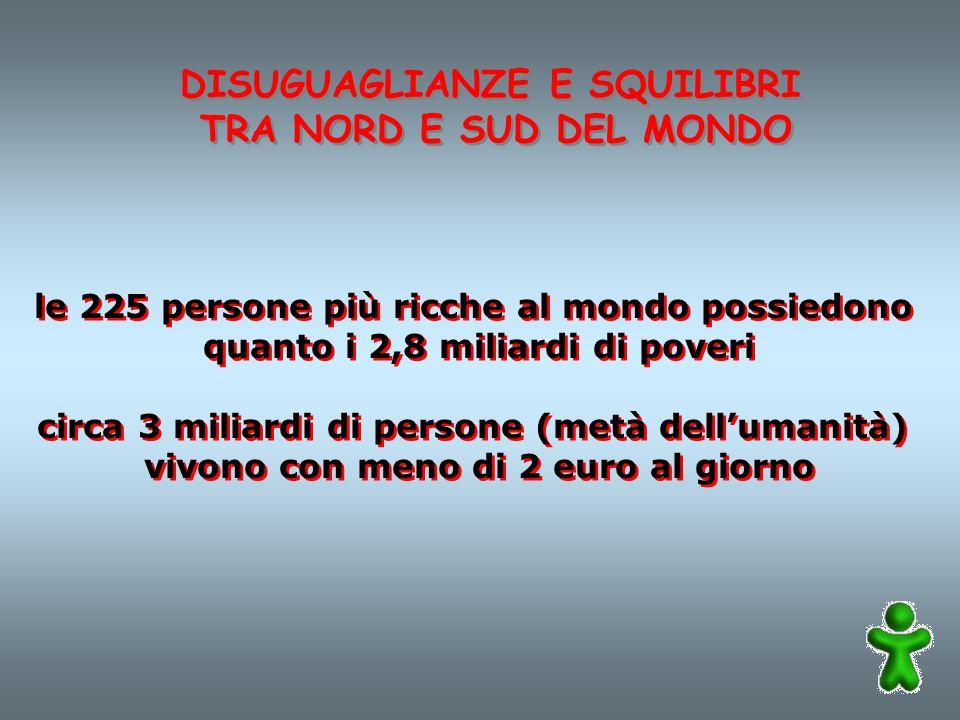 DISUGUAGLIANZE E SQUILIBRI TRA NORD E SUD DEL MONDO DISUGUAGLIANZE E SQUILIBRI TRA NORD E SUD DEL MONDO le 225 persone più ricche al mondo possiedono