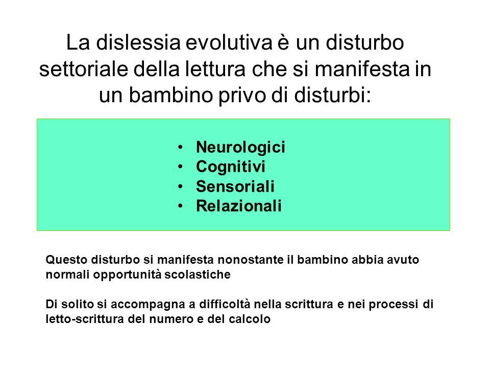 La dislessia evolutiva è un disturbo settoriale della lettura che si manifesta in un bambino privo di disturbi: Neurologici Cognitivi Sensoriali Relaz