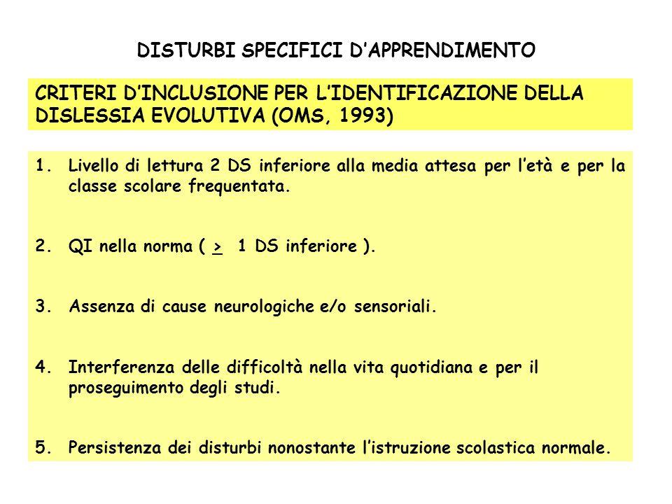 DISTURBI SPECIFICI DAPPRENDIMENTO CRITERI DINCLUSIONE PER LIDENTIFICAZIONE DELLA DISLESSIA EVOLUTIVA (OMS, 1993) 1.Livello di lettura 2 DS inferiore a