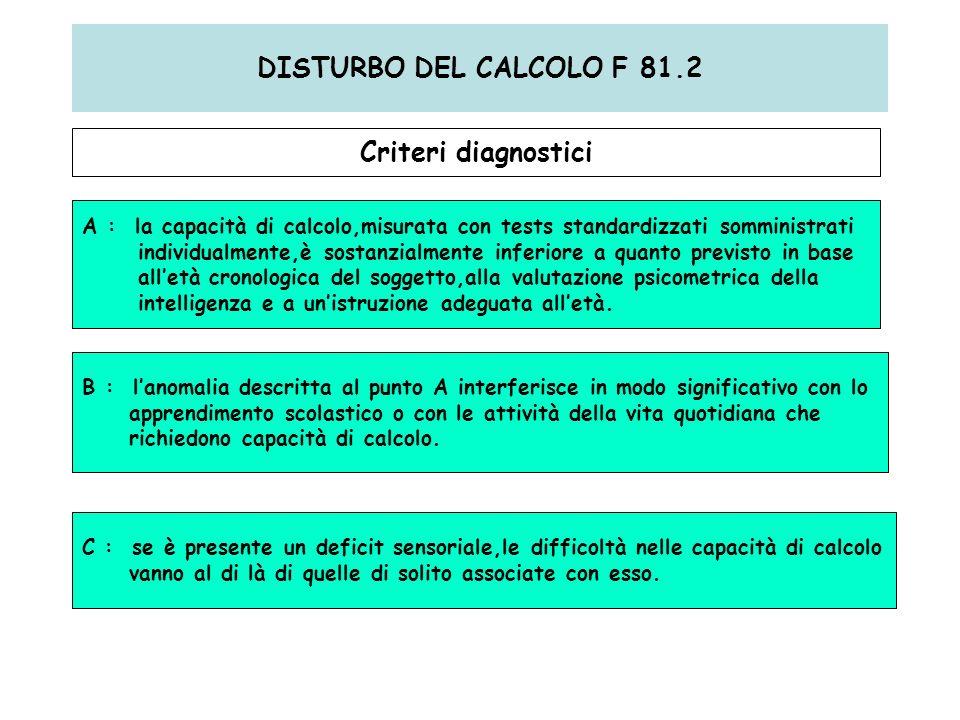 DISTURBO DEL CALCOLO F 81.2 Criteri diagnostici A : la capacità di calcolo,misurata con tests standardizzati somministrati individualmente,è sostanzia
