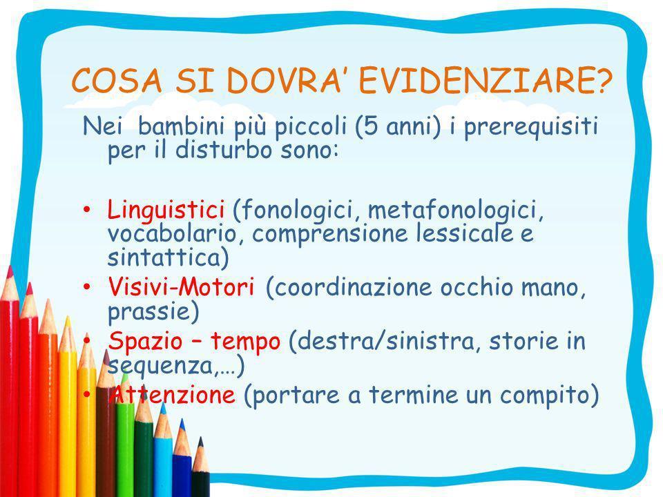 I disturbi del linguaggio (DSL) sono il predittore più affidabile della dislessia I bambini che presentano ancora alterazioni fonologiche dopo il compimento dei 4 anni hanno l80% di probabilità di sviluppare DSA (Bishop 1992, Stella 2004).