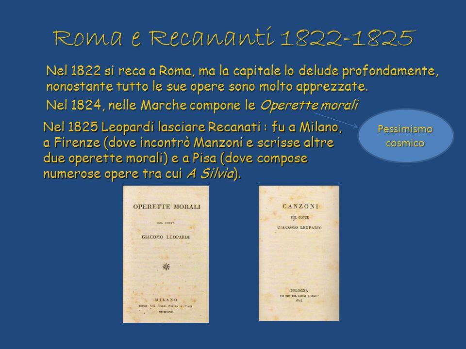 Roma e Recananti 1822-1825 Nel 1822 si reca a Roma, ma la capitale lo delude profondamente, nonostante tutto le sue opere sono molto apprezzate. Nel 1