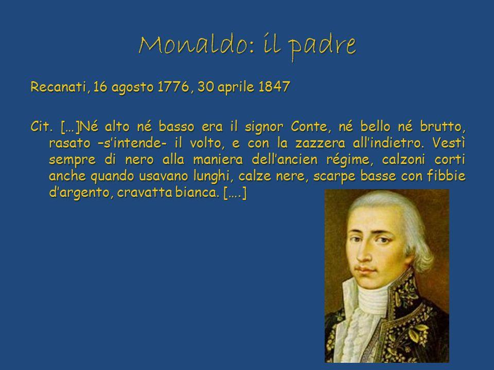 Monaldo: il padre Recanati, 16 agosto 1776, 30 aprile 1847 Cit. […]Né alto né basso era il signor Conte, né bello né brutto, rasato –sintende- il volt
