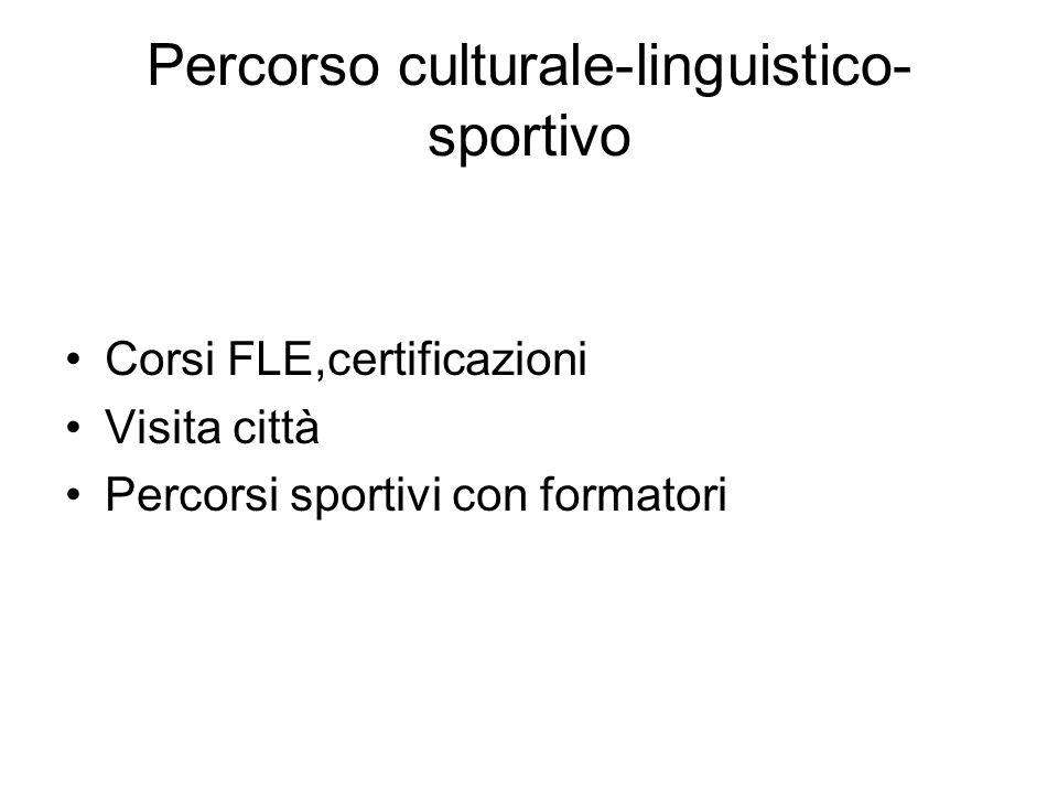 Percorso culturale-linguistico- sportivo Corsi FLE,certificazioni Visita città Percorsi sportivi con formatori