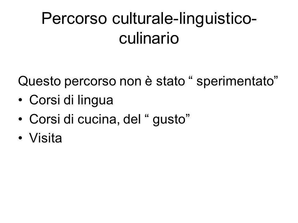 Percorso culturale-linguistico- culinario Questo percorso non è stato sperimentato Corsi di lingua Corsi di cucina, del gusto Visita