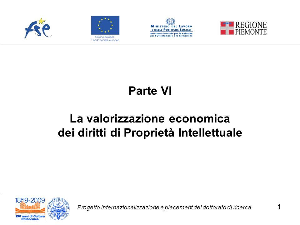 Progetto Internazionalizzazione e placement del dottorato di ricerca Parte VI La valorizzazione economica dei diritti di Proprietà Intellettuale 1