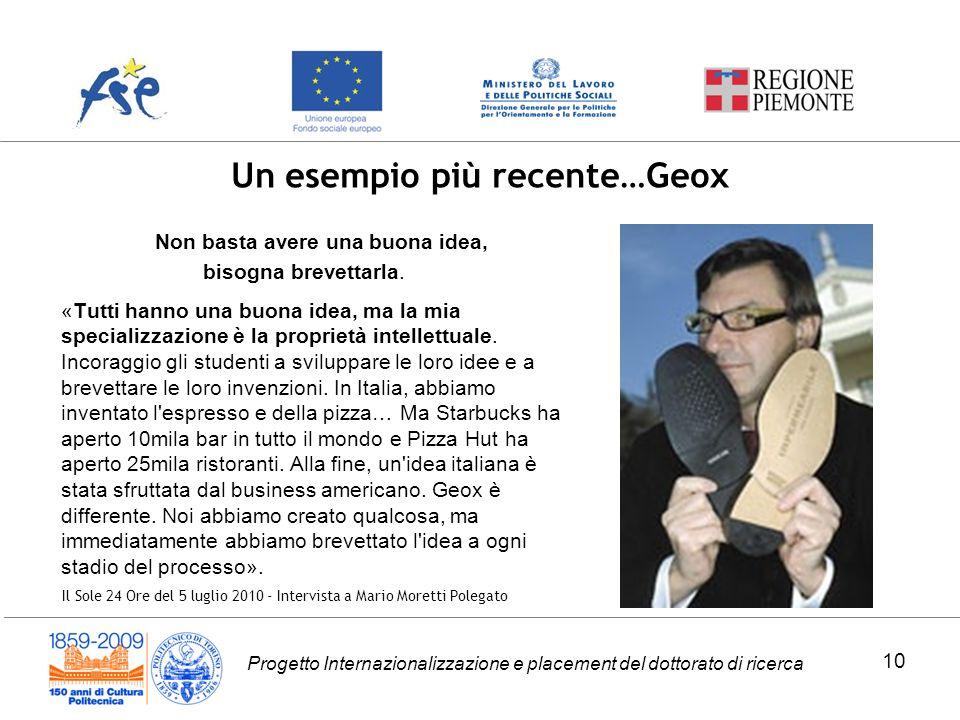 Progetto Internazionalizzazione e placement del dottorato di ricerca Un esempio più recente…Geox Non basta avere una buona idea, bisogna brevettarla.