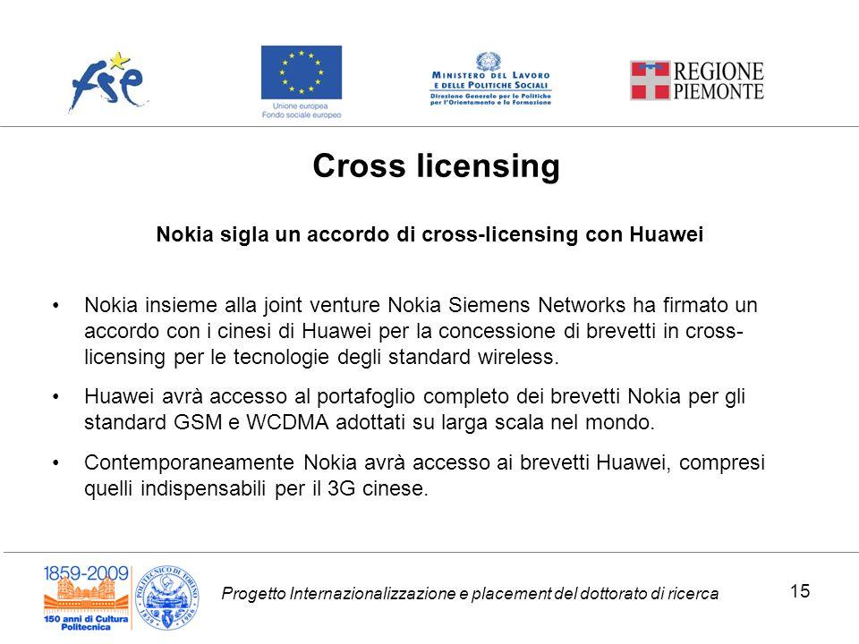 Progetto Internazionalizzazione e placement del dottorato di ricerca Nokia sigla un accordo di cross-licensing con Huawei Nokia insieme alla joint ven